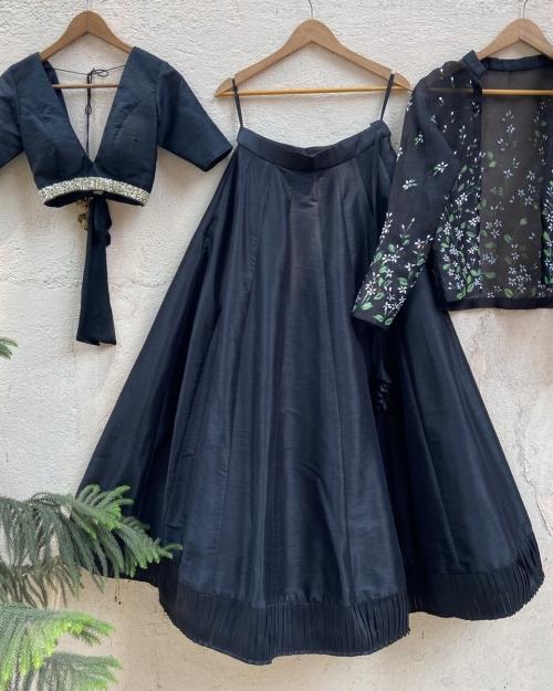 Black Raw Silk Lehenga Set with Handprinted Jacket - Fashion Brand & Designer Priti Sahni