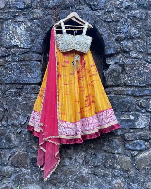 Mustard Tie and Dye Lehenga Set - Fashion Brand & Designer Priti Sahni
