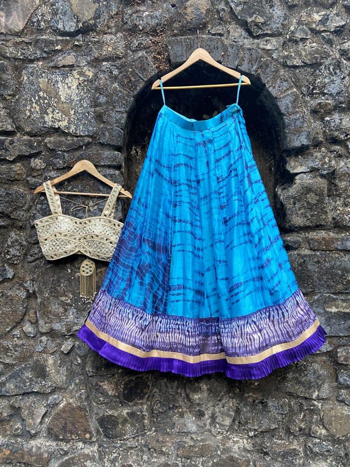 Blue Tie and Dye Lehenga Set - Fashion Brand & Designer Priti Sahni 4