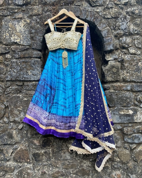 Blue Tie and Dye Lehenga Set - Fashion Brand & Designer Priti Sahni