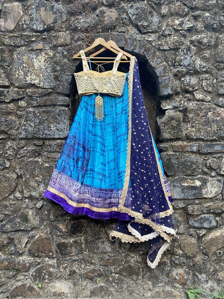 Blue Tie and Dye Lehenga Set - Fashion Brand & Designer Priti Sahni 5