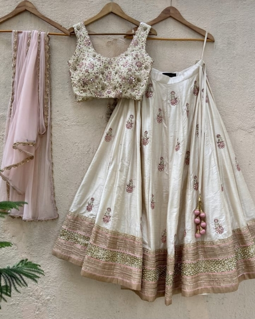 Ivory Raw Silk Lehenga Set with Mirror and Resham Work - Fashion Brand & Designer Priti Sahni