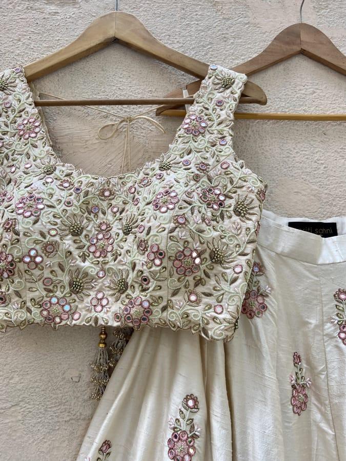 Ivory Raw Silk Lehenga Set with Mirror and Resham Work - Fashion Brand & Designer Priti Sahni 3