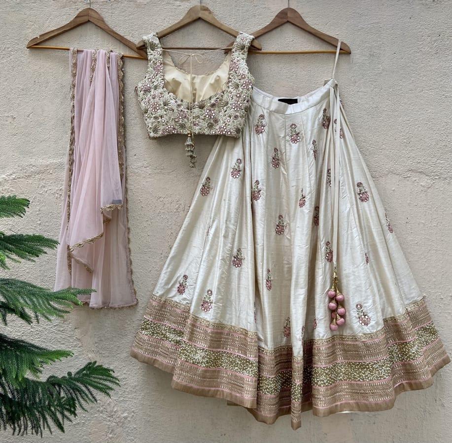 Ivory Raw Silk Lehenga Set with Mirror and Resham Work - Fashion Brand & Designer Priti Sahni 2
