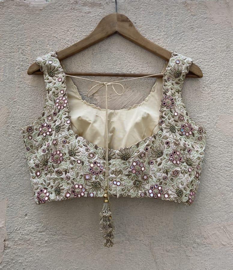 Ivory Raw Silk Lehenga Set with Mirror and Resham Work - Fashion Brand & Designer Priti Sahni 6