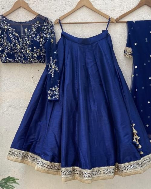 Midnight Blue Mirror and Resham Work Lehenga Set - Fashion Brand & Designer Priti Sahni