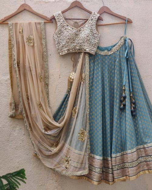 Turkish Blue and Nude Lehenga Set - Fashion Brand & Designer Priti Sahni