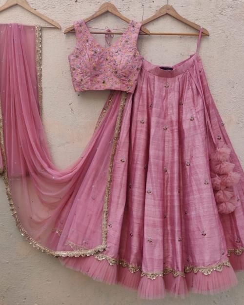 Nude Pink Resham and Sequin Embroidered Lehenga Set - Fashion Brand & Designer Priti Sahni